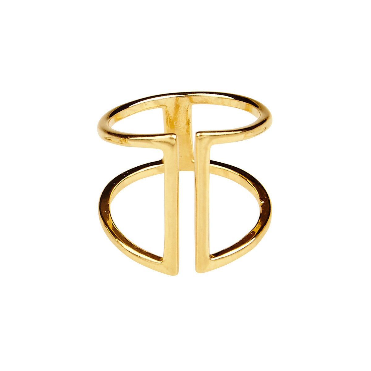 Silk & Steel Trapped Gold Plated Sterling Silver Ring