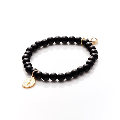 Silk&Steel Jewellery Love and Light Black Onyx + Gold Bracelet - Faithful