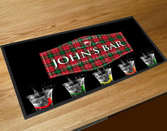 Personalised with any name mojito cocktail bar runner mat Bars Clubs