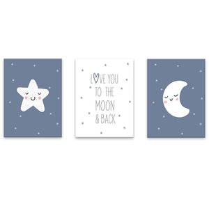 Set 3 Cuadros Canvas Love You to the Moon