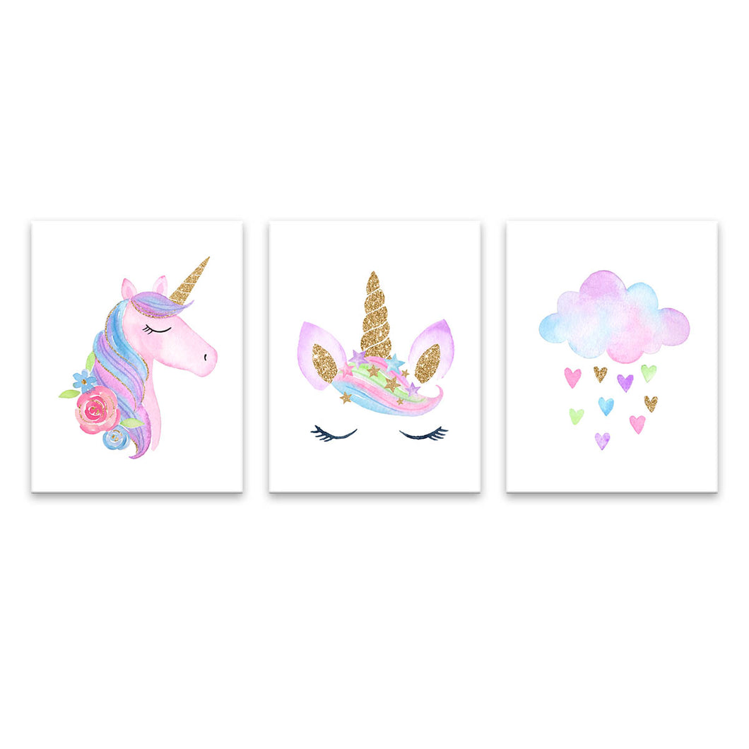 Set 3 Cuadros Canvas Unicornios 1 Hipoalegénicos Ecofriendly