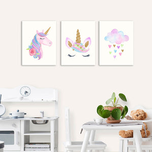 Set 3 Cuadros Canvas Unicornios