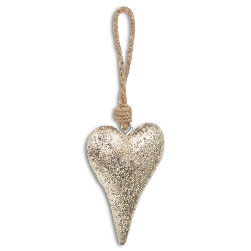 Mottled Silver Rope Hanging Heart Decoration