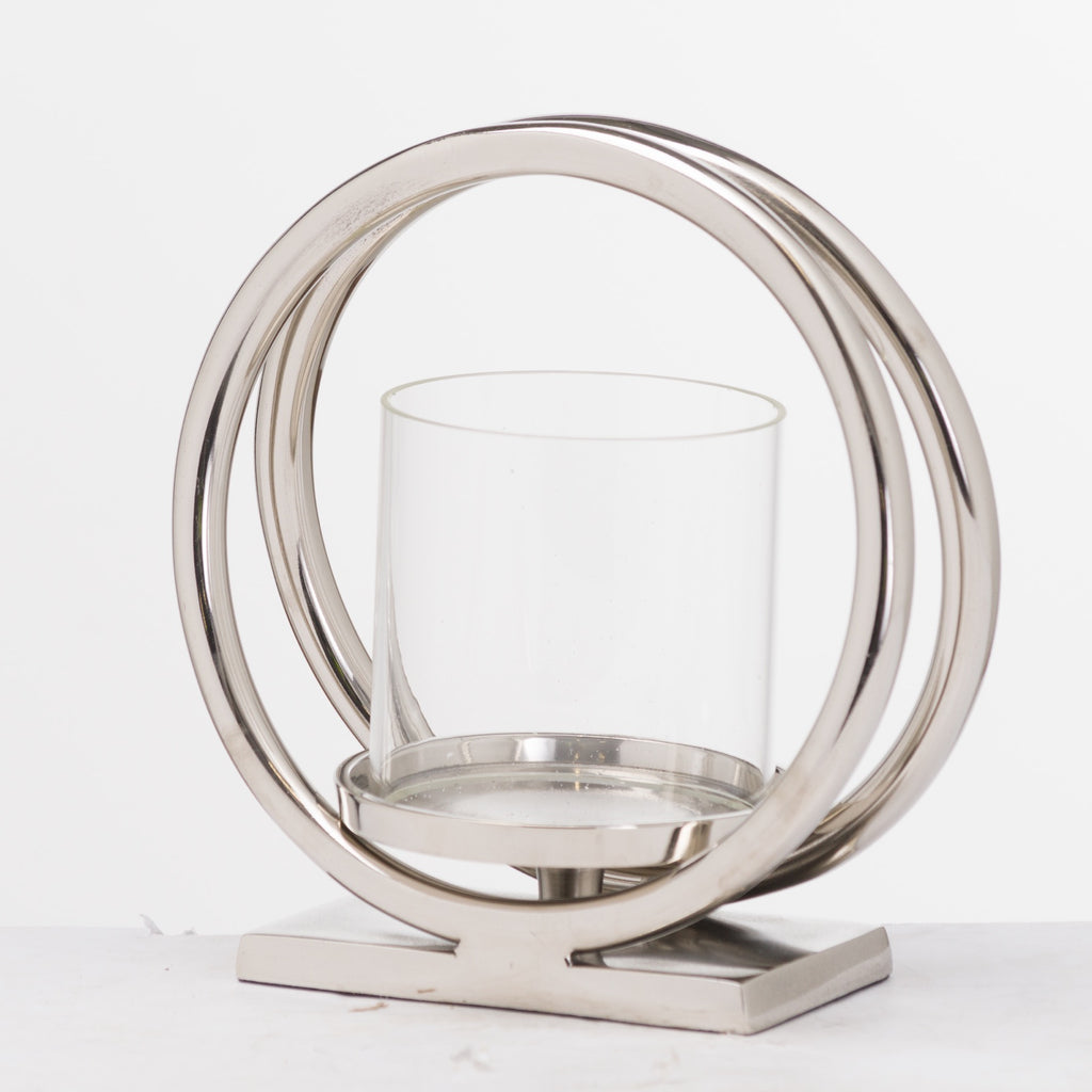 Silver Large Twin loop Candle Holder
