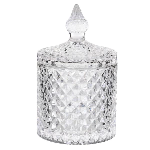 Small Diamond Cut Glass Jar with Lid