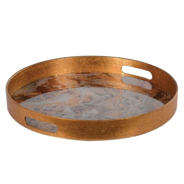 Round Bronze Marble Effect Tray