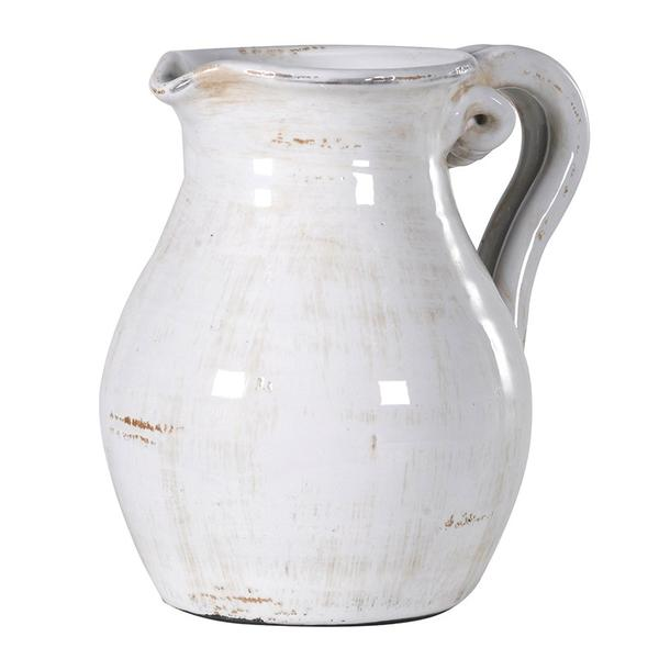 Off-white Distressed Ceramic Jug