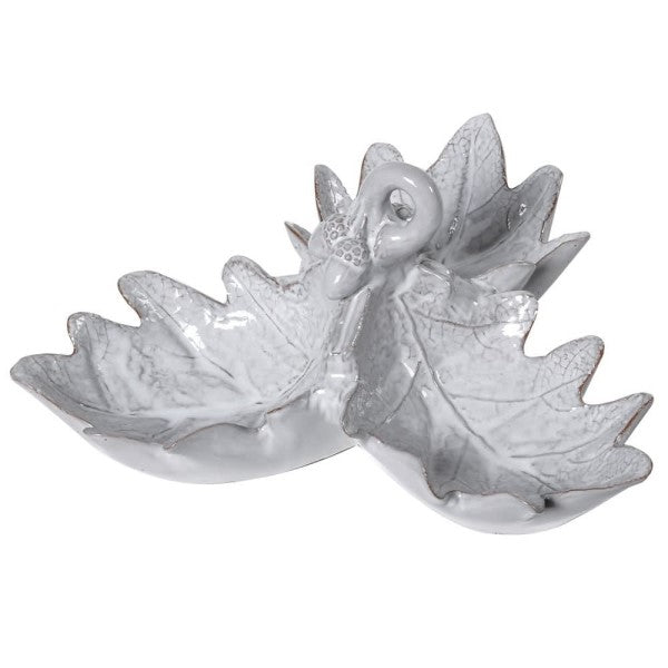 Ceramic Grey Oak Leaf Nibbles Dish