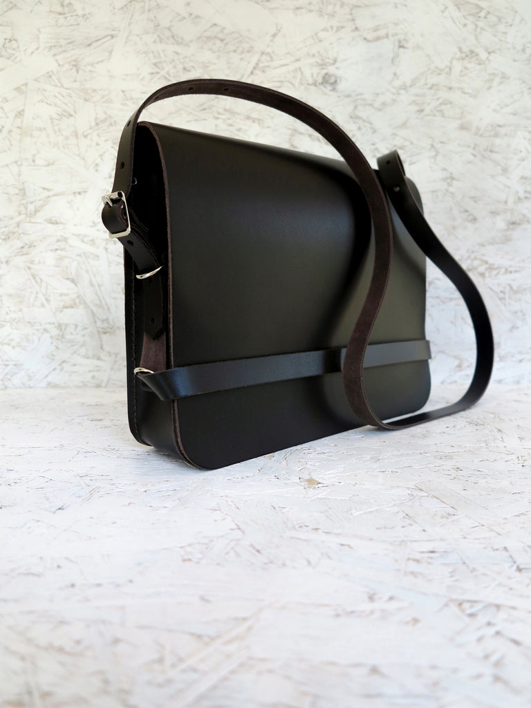 Dark Brown Handmade Leather iPad Bag for men and women