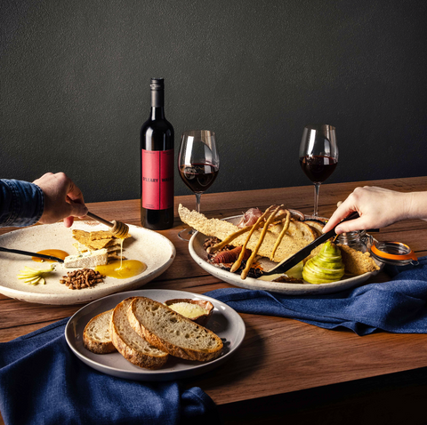 Platters and red wine still life