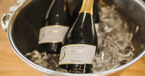 Two bottles of sparkling wine in an ice bucket