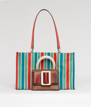 LUCAS TOTE COLOR BLOCK / RED-GREEN
