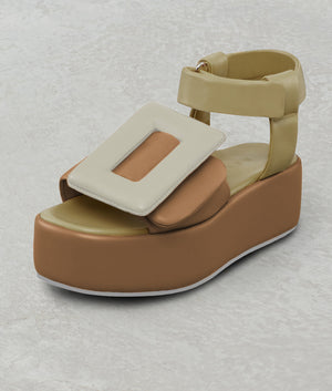 PUFFY SANDAL PLATFORM ANKLE STRAP COLOR BLOCK PARCHMENT/PARMESAN/GINGER