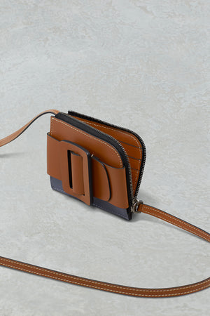 BUCKLE CARD HOLDER WITH STRAP TWO-TONE  NOCCIOLA / QUICKSILVER