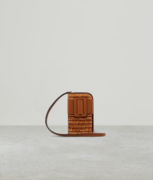 BUCKLE CROSS BODY PHONE CASE RAFFIA FRINGE PECAN