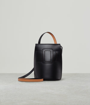 PERFORATED BUCKLE TALL POUCH BLACK GINGER