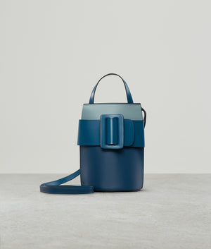 BUCKLE TALL POUCH COLOR BLOCK BLUE TONAL