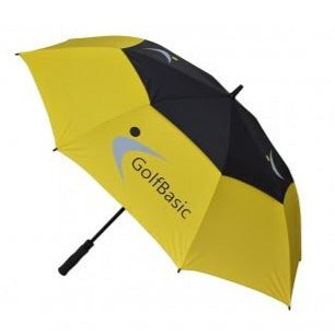 GolfBasic Full EP Coated Automatic Open Double Canopy Umbrella (Yellow/Black)