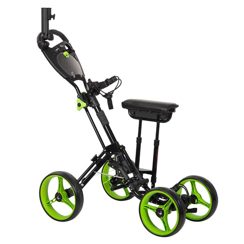 GolfBasic Prime 4-Wheel Golf Push Cart with Seat
