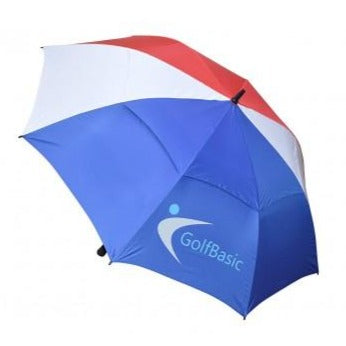 GolfBasic Full EP Coated Automatic Open Double Canopy Golf Umbrella Red/White/Blue
