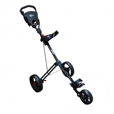 GolfBasic Caddylite 3-Wheel Golf Push Cart with Umbrella Holder