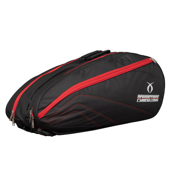 Powastride Double Compartment Badminton Kit Bag (Black/Red)