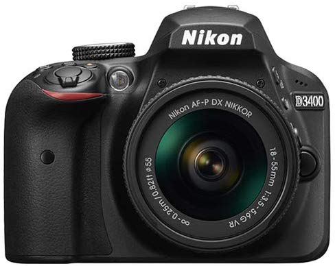 Nikon D3400-24.2 MP SLR Camera, AF-P 18-55mm f/3.5-5.6G VR Lens, Black