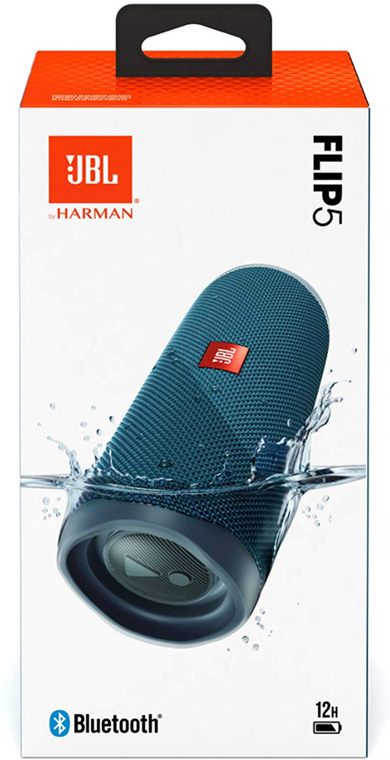 JBL Flip 5 Portable Waterproof Bluetooth Speaker with Hybrid Carrying Case (Blue)