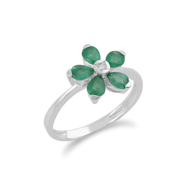 Gemondo 9ct White Gold 0.76ct Emerald & Diamond Floral Ring Image 2