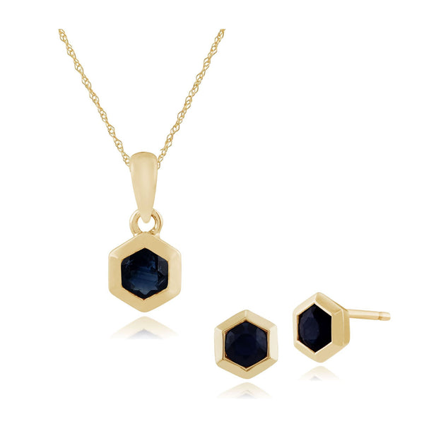 Geometric Sapphire Bezel Set Stud Earrings & Pendant Set Image 1