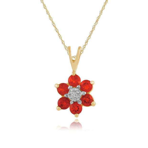 Floral Fire Opal & Diamond Clyster Pendant on Chain Image 1
