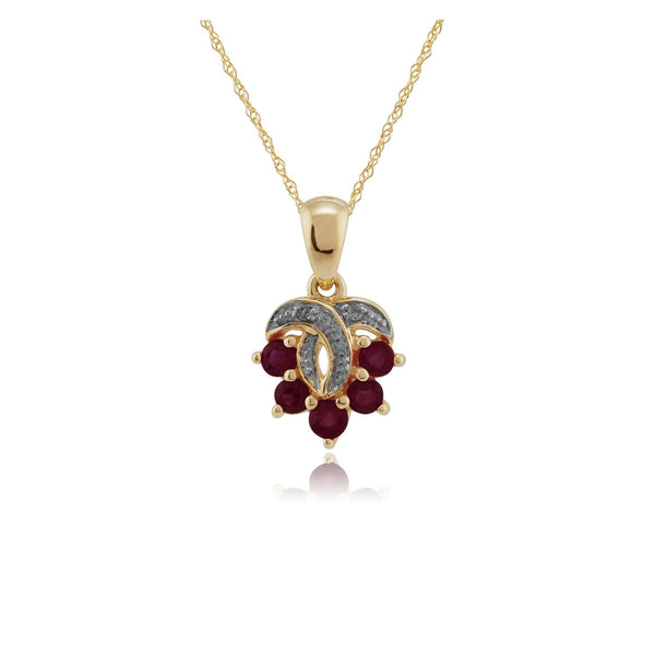 9ct Yellow Gold 0.43ct Natural Ruby & Diamond Pendant on 45cm Chain Image