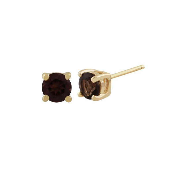 Gemondo Smoky Quartz Round Stud Earrings In 9ct Yellow Gold 3.50mm Claw Set Image