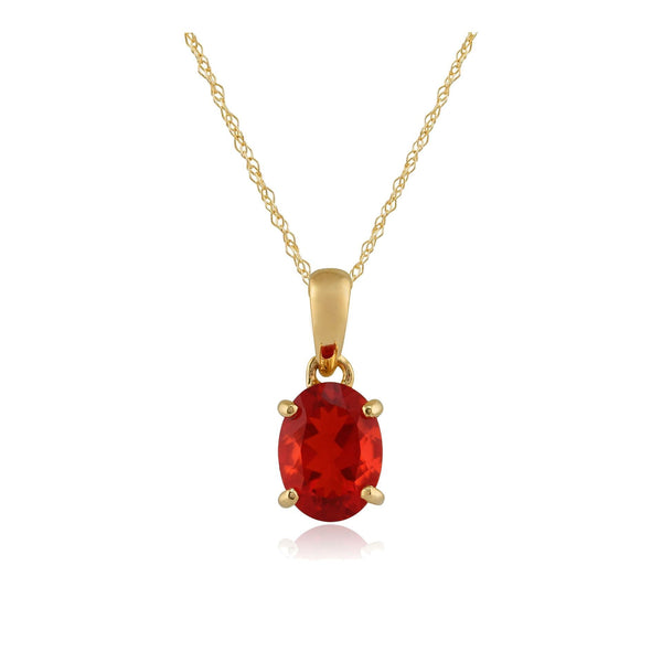 9ct Yellow Gold 0.79ct Fire Opal Oval Single Stone Pendant on Chain Image