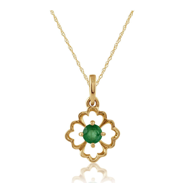 Floral Emerald Pendant on Chain Image 1