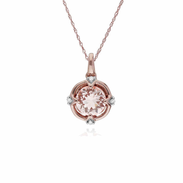 Gemondo 9ct Rose Gold Halo Morganite & Diamond Round Cut Pendant on 45cm Chain Image