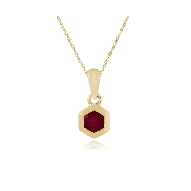 Ruby Hexagon Pendant Image 1