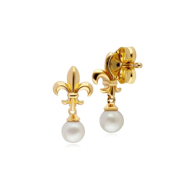 ECFEW™ Pearl Fleur De Lis Drop Earrings