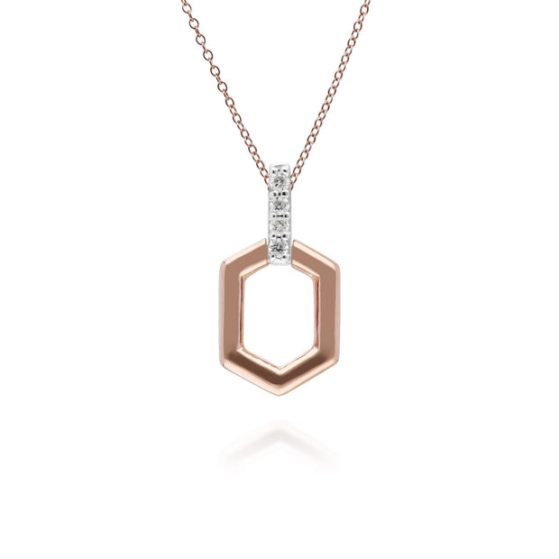 Diamond Pave Hex Bar Pendant in 9ct Rose Gold