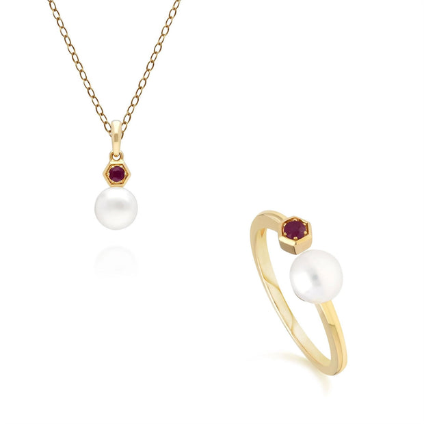 Modern Pearl & Ruby Ring & Pendant Set in 9ct Yellow Gold