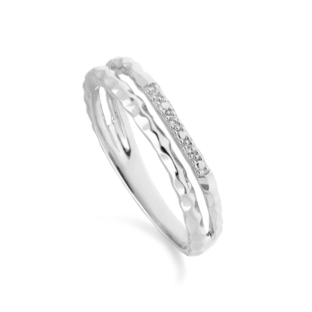 Diamond Pavé Hammered Double Band Ring in 9ct White Gold