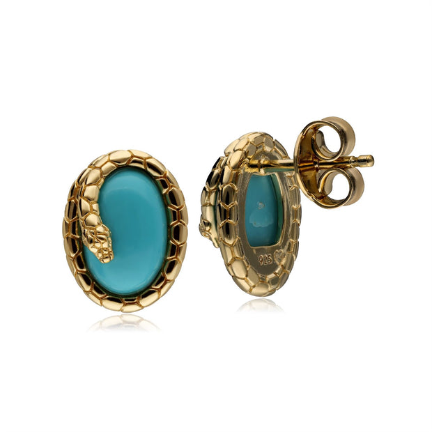 ECFEW™ Turquoise Winding Snake Stud Earrings