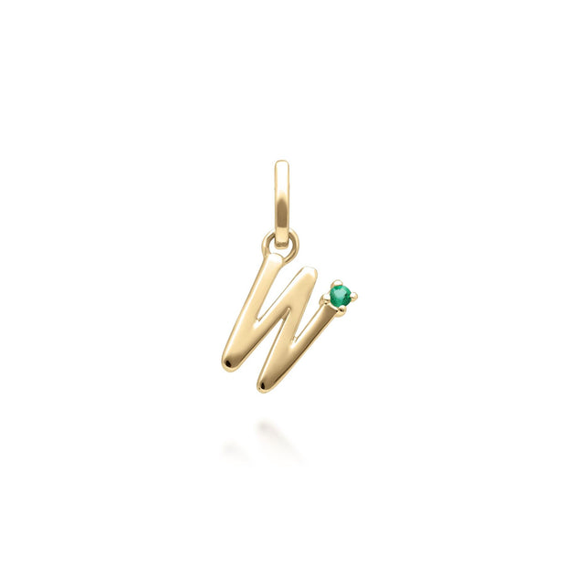 Initial W Emerald Letter Necklace in 9ct Yellow Gold