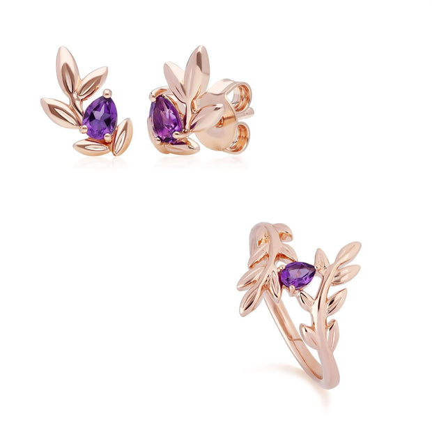 O Leaf Amethyst Stud Earring & Ring Set in 9ct Rose Gold