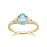 Blue Topaz & Diamond Ring Image 1