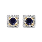 Classic Iolite Stud Earrings & Diamond Square Earring Jacket Set Image 1