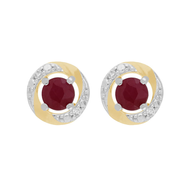 9ct White Gold Ruby Stud Earrings & Diamond Halo Ear Jacket Image 1