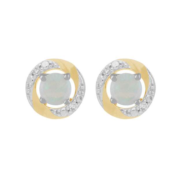 9ct White Gold Opal Stud Earrings & Diamond Halo Ear Jacket Image 1