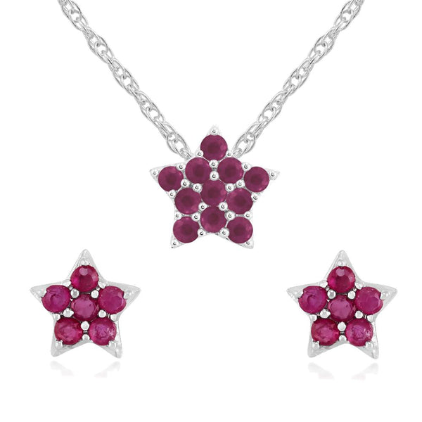 Classic Ruby Cluster Star Stud Earrings & Pendant Set Image 1