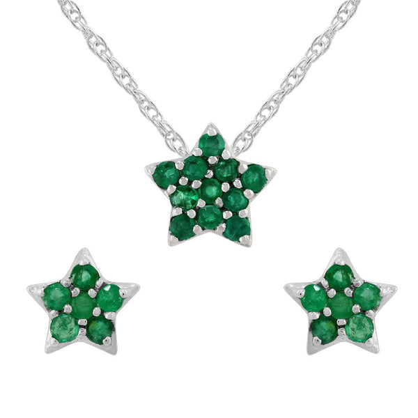 Classic Emerald Cluster Star Stud Earrings & Pendant Set Image 1